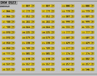 Набор декалей Номерные знаки Общественный транспорт России Республика Татарстан (100х70)