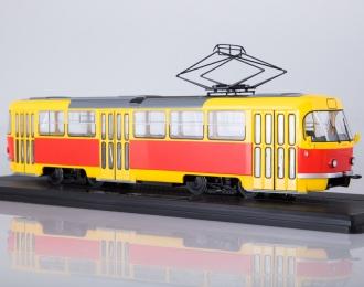 Трамвай Tatra-T3SU, желто-красный