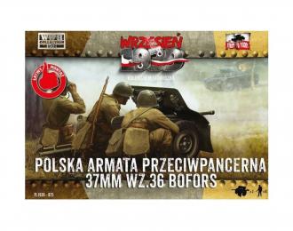 Сборная модель Шведская 37-мм противотанковая пушка Bofors с польским расчетом.