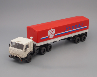"""Камский грузовик 5410 тягач с полуприцепом""""РОССИЯ"""", белая кабина / красный тент"""