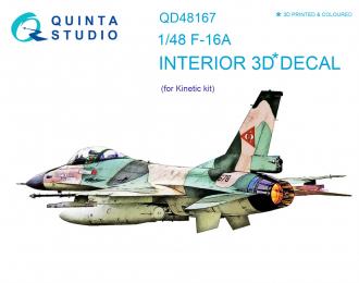 3D Декаль интерьера кабины F-16A (для модели Kinetic)