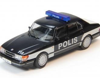 SAAB 900 turbo Полиция Финляндии, Полицейские Машины Мира 72, черно-белый