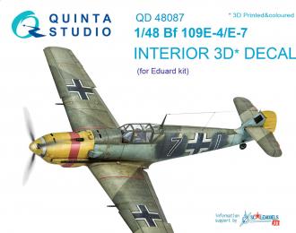 3D Декаль интерьера кабины Bf 109E-4/E-7 (для модели Eduard)