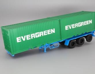 Полуприцеп-контейнеровоз МАЗ-938920 с контейнерами EVERGREEN, голубой/зеленый