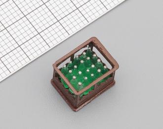 Ящик бутылочный с бутылками (коричневый), цена за шт