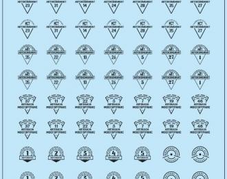 Набор декалей Эмблемы автобаз (вариант 1), черный (100х140)