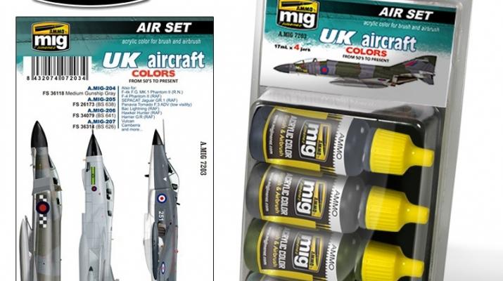 """Набор из четырех акриловых красок """"UK AIRCRAFT FROM 50'S TO PRESENT""""(самолёты Великобритании, от 50-х до наших дней)"""