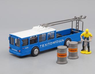Троллейбус ремонтный с фигуркой, синий / белый