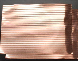 Медь 0,07 мм, гофрированная, шаг 0,76 мм, лист 13х18 см, 2 шт