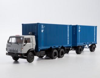 Камский грузовик 53212 контейнеровоз с прицепом ГКБ-8350, серый / синий
