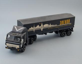 Камский грузовик 5410 с полуприцепом и тентом Элекон, черный