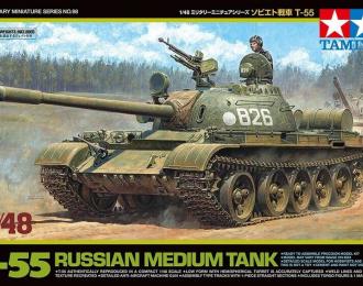 Сборная модель Советский танк Т-55 с фигурой командира