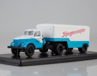 Горький-51П с полуприцепом ПАЗ-744, голубой / серый