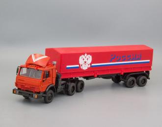 """Камский грузовик 5410 (спойлер) с полуприцепом и тентом """"Россия"""", красный"""