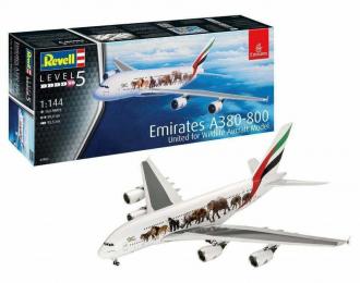 Сборная модель АЭРОБУС A380-800 АВИАКОМПАНИИ EMIRATES В ЛИВРЕЕ UNITED FOR WILDLIFE