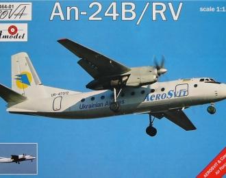 Сборная модель Советский пассажирский самолет Ан-24Б / РВ (авиалинии Украины / Чехии)