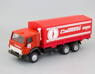 Камский грузовик 53212 тент Советский цирк (тюлень), красный