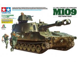 Сборная модель Американское самоходное орудие US Self-Propelled Howitzer - M109 (Vietnam War) с тремя фигурами