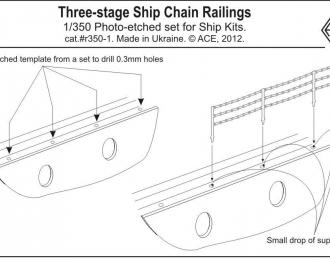 Набор фототравления Корабельное 3-х ярусное цепное ограждение (16шт x 96мм)