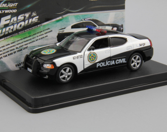 "DODGE Charger Police ""Rio Policia Civil"" ""Fast & Furious: Fast Five"" из к/ф ""Форсаж V"" (2006), white / black"