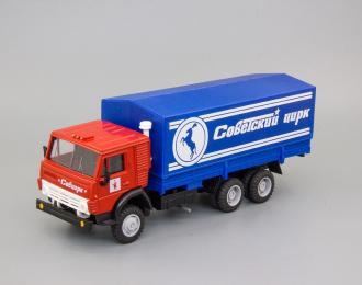 Камский грузовик 53212 тент Советский цирк (лошадь), красный / синий