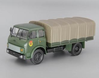 МАЗ-5334 бортовой с тентом, зеленый / серый