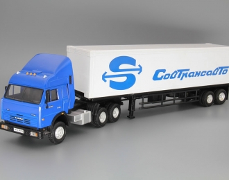 КАМАЗ 54115 седельный тягач с прицепом СовТрансАвто, синий / белый