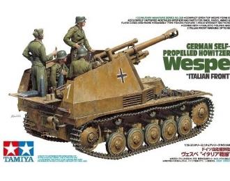 Сборная модель 105-мм гаубица на шасси Pz-II  Sd.Kfz.124 Wespe, итальянский фронт, с 4 фигурами