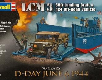 Сборная модель Американское десантное судно LCM 3 с легким армейским внедорожником