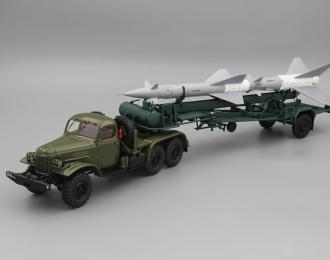 Набор: ЗИЛ 157КВ седельный тягач, т.зеленый + ТЗМ-ПР11 (Ракета 13Д)
