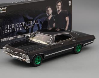 """(Уценка!) CHEVROLET Impala Sport Sedan с открывающимся багажником (из телесериала """"Сверхъестественное"""") 1967 Black (Greenlight)"""