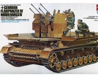 Сборная модель Немецкая 4-х ствольная зенитка Flakpanzer IV Mobelwagen с 4 фигурами