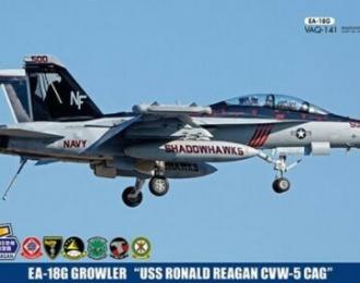 Сборная модель Cамолет EA-18G GROWLER USS RONALD REAGAN CVW-5 CAG