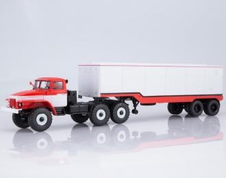 Уральский грузовик 377С с полуприцепом ОДАЗ-935, красно-белый