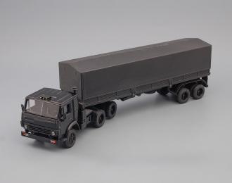 Камский грузовик 5410 тягач с полуприцепом, тент, черный