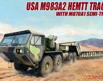 Сборная модель Американский седельный тягач M983A2 Hemtt с полуприцепом M870A1