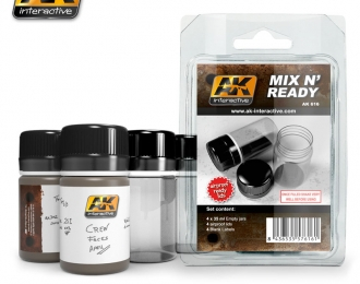 4 емкости для смешевания жидкостей  MIX N READY ( 4 EMPTY JARSWHITH LABELS)