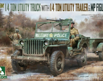 Сборная модель 1/4 Ton Utility Truck with 1/4 Ton Utility Trailer & MP Figure