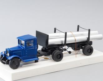 ЗИС-5 с роспуском и трубами, синий / черный