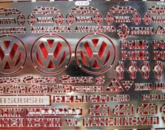 Фототравление Набор шильдиков и логотипов для иномарок, никелирование
