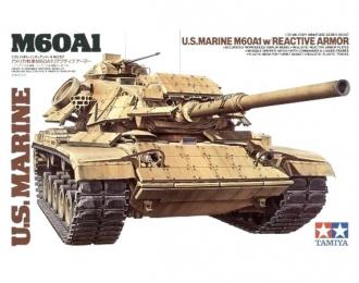 Сборная модель Американский танк морской пехоты M60A1 с реактивной броней с 2 фигурами танкистов