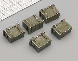Ящики металлические (окрашенные, 700 x 390 x 520 мм), комплект 5 шт., темно-зеленый