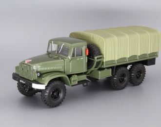 КРАЗ 214Б бортовой с тентом, зеленый / зеленый тент