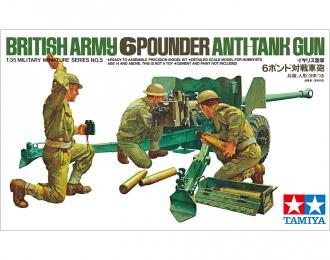 Сборная модель Английская шестифунтовая противотанковая пушка с тремя фигурами артиллеристов