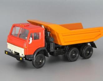 КАМАЗ 5511 самосвал (продольные ребра), красный / оранжевый