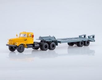 КрАЗ-258Б1 с полуприцепом-тяжеловозом ЧМЗАП-5523, оранжевый / серый