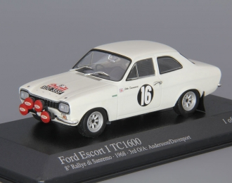 FORD Escort I RS1600 San Remo Rally Winners: Andersson / Davenport (1968), white