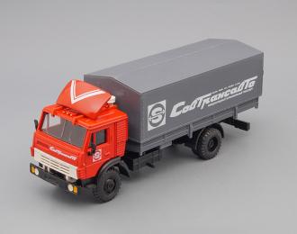 Камский грузовик 5325 с тентом Совтрансавто, красный / серый (мет. спойлер)
