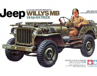 Сборная модель Американский 1/4-тонный джип 4х4 Willys MB с фигурой водителя