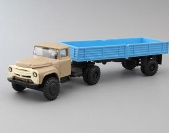 ЗИЛ-130В1 с полуприцепом ОДАЗ-885, бежевый / синий